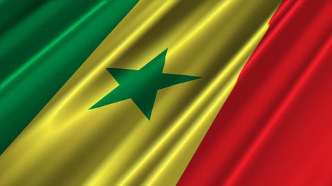 SenegalFlagLoop02 Stock Video Footage