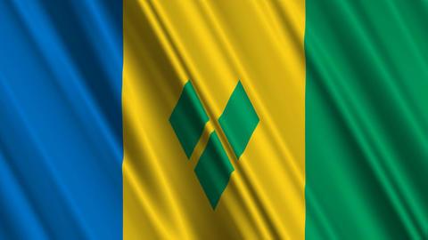 StVincentAndTheGrenadinesFlagLoop01 Stock Video Footage