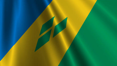 StVincentAndTheGrenadinesFlagLoop03 Stock Video Footage
