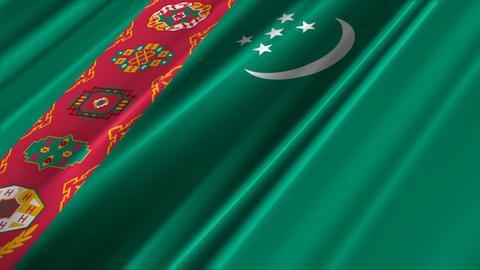 TurkmenistanFlagLoop02 Stock Video Footage