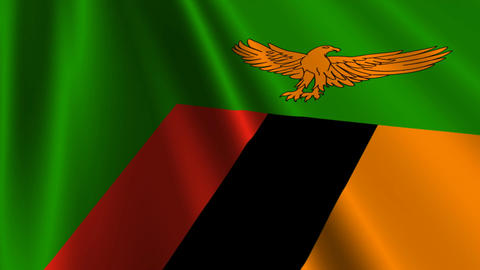 ZambiaFlagLoop03 Stock Video Footage