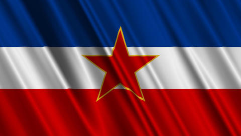 YugoslaviaFlagLoop01 Stock Video Footage