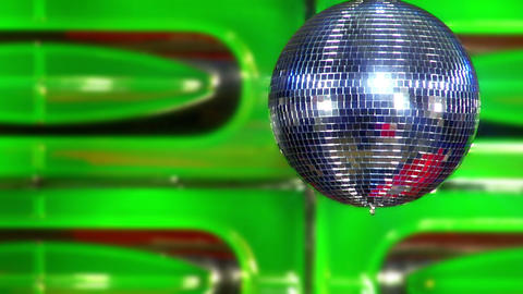 disco mirror ball green fast Stock Video Footage