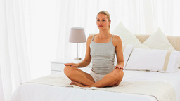 Casual girl doing exercises of relaxation Stock Video Footage