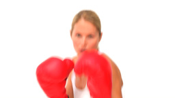 Dynamic woman with red boxing gloves Stock Video Footage