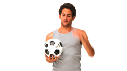 Casual man playing soccer Footage