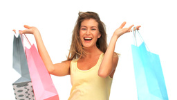 Woman after shopping Stock Video Footage