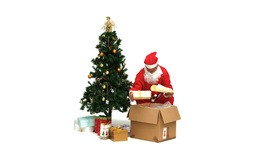 Santa Claus taking presents Stock Video Footage