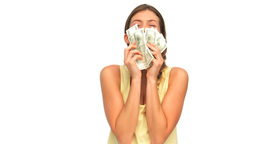 Woman showing her money Footage
