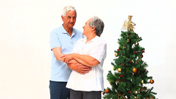 Elderly couple during Christmas day Footage
