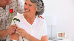 Man offering a rose to his mature wife Footage