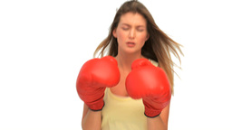 Active woman with red gloves Stock Video Footage