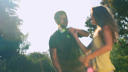 Attractive couple dancing outdoors Stock Video Footage