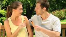 Couple eating ice creams Footage