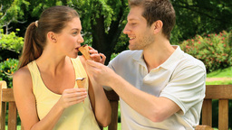 Couple eating ice creams Stock Video Footage