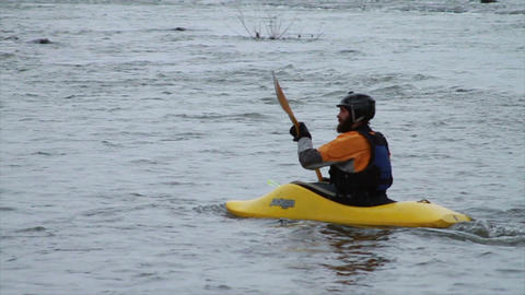 Kayaking Down River in Winter, Slow Motion 2 Footage