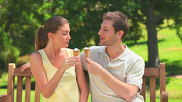 Lovers enjoying ice creams Footage