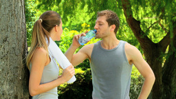Couple Having A Rest After A Run stock footage