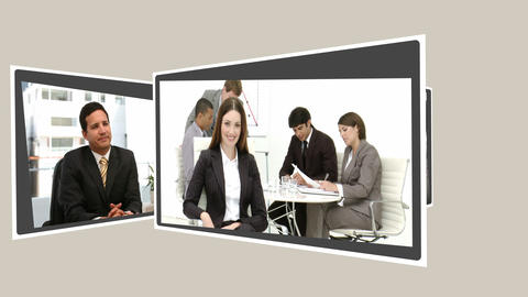 Montage of several business people talking togethe Stock Video Footage