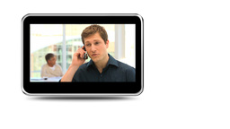 Montage of business people having phone discussion Animation