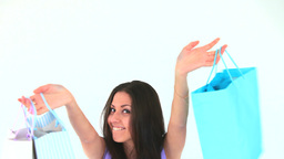 Young woman showing her shopping Footage