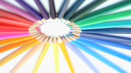 Color pencils forming a circle while rotating Footage