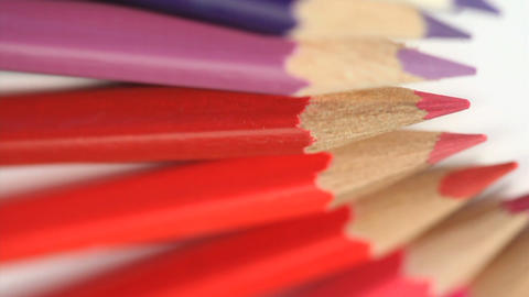 Top of color pencils turning Stock Video Footage