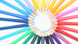 Top part of color pencils turning Footage