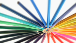 Color pencils joined at their top turning Footage
