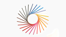 Color pencils forming a circle Stock Video Footage