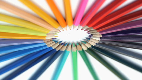 Color pencils rotating Stock Video Footage