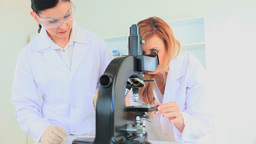 Scientist women using a microscope Footage