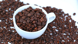 Cup filled with coffee beans turning on a bed of c Stock Video Footage