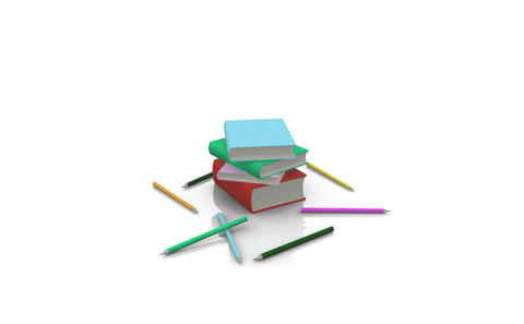 Animation of pens and books Animation