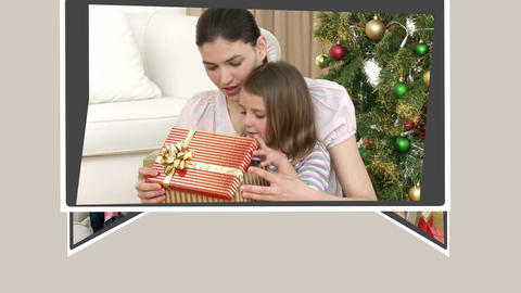 Montage of families opening their presents Stock Video Footage