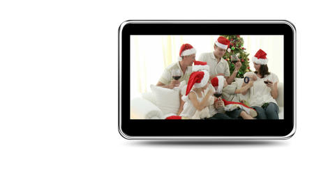 Montage of families having fun at Christmas Stock Video Footage