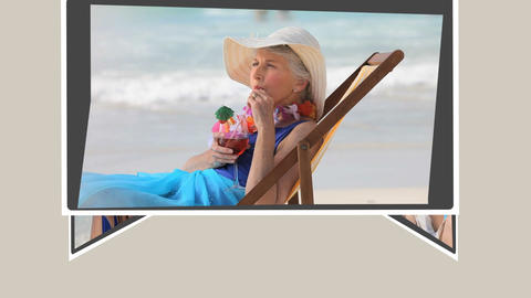 Montage of mature couples relaxing on the beach Animation