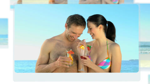 Montage of a young couple having fun on the beach Animation
