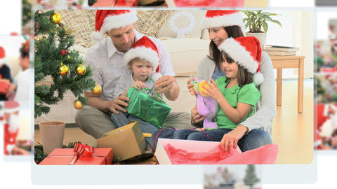 Montage of families celebrating Christmas Day toge Stock Video Footage
