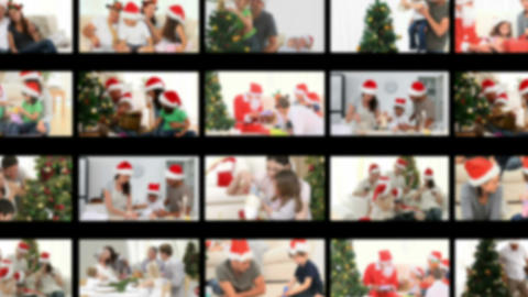 Montage of families celebrating Christmas Day Stock Video Footage