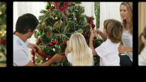 Montage of children preparing Christmas Day Stock Video Footage