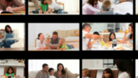 Montage of children having fun with their parents Stock Video Footage