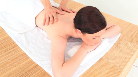 Brunette enjoying her massage Footage