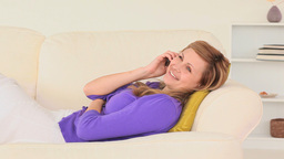 Relaxed woman talking on the phone Footage