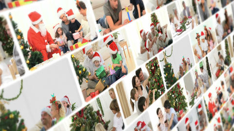 Montage of families celebrating Christmas Stock Video Footage