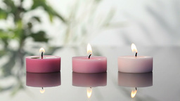 Pink lighted candles Stock Video Footage