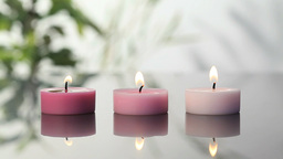 Pink lighted candles Footage