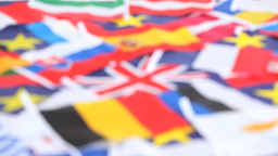Closeup on several country flags Stock Video Footage