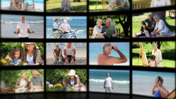 Montage of elderly couples relaxing Animation