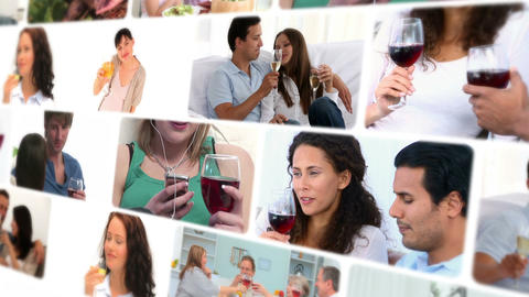 Montage of couples drinking wine Stock Video Footage